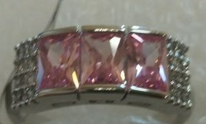 Pink topaz and cubics in silver settingh